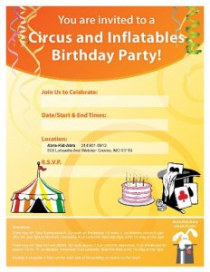 circus birthday party St. Louis invitations