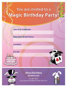 magic birthday invitation-client location