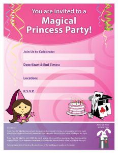princess party invitation-client location